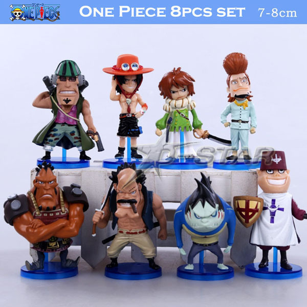 "Free Shipping 8pcs Mini 3"" One Piece Whitebeard Pirates Crew The 92th PVC Action Figures Model Collection Model (8pcs per set)"