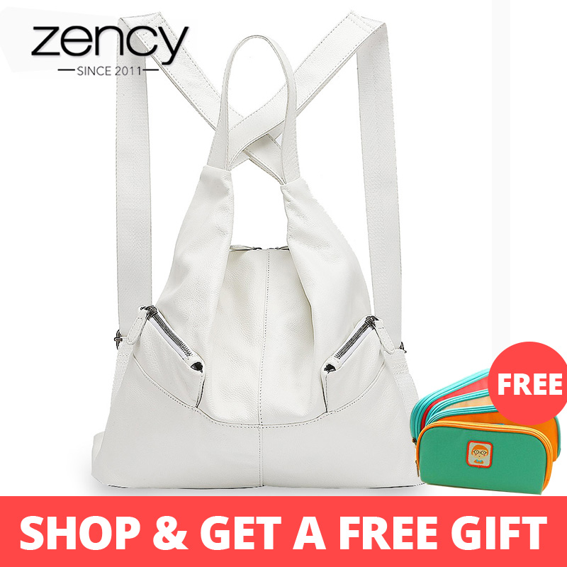 Zency Unique Style Women Backpack 100% Cowhide Genuine Leather Fashion Travel Bag Black Lady Knapsack Girls Schoolbag NotebookZency Unique Style Women Backpack 100% Cowhide Genuine Leather Fashion Travel Bag Black Lady Knapsack Girls Schoolbag Notebook