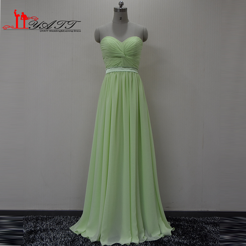Real Picture 2016 Mint Green Long Chiffon Sweetheart Simple Cheap Long Elegant Summer High Quality Bridesmaid Dresses Liyatt image