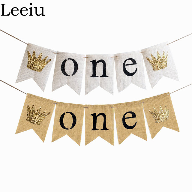 Leeiu Glitter Crown Chair Banner Baby First Birthday Banner One Year - first birthday banner