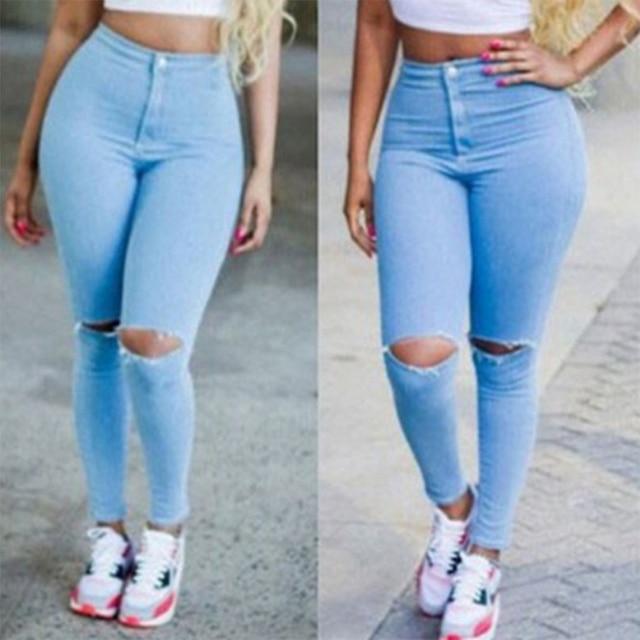 dea006272 Calça Jeans de Cintura alta Femininos Na Altura Do Joelho Buraco Magras Calças  Jeans Lápis Strech