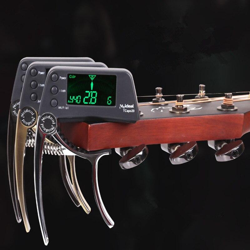 Tcapo20 acústica Guitarras capo quick change key Guitarras capo Tuner para eléctrica Guitarras piezas bajo Ukuleles aleación cromática bdj005