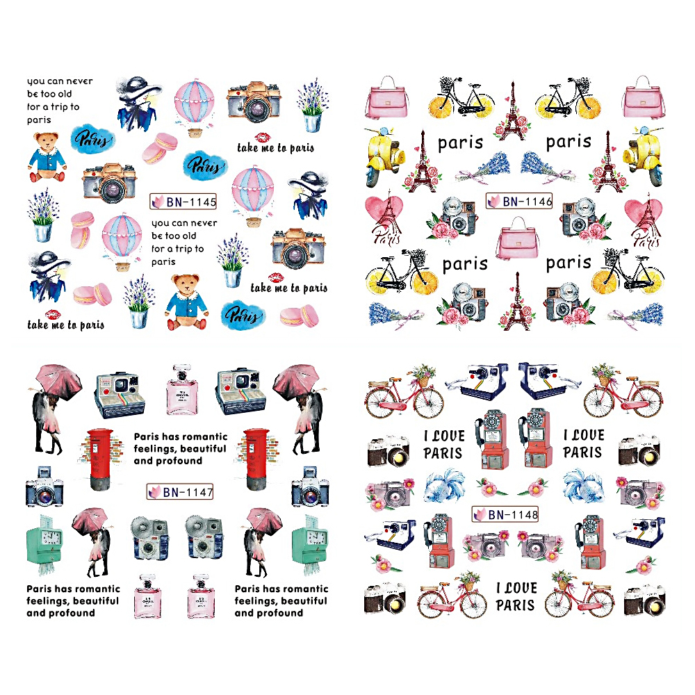 Image 3 - 12pcs Nail Art Stickers Romantic City Flowers Wraps Perfume Lovers Balloon Rose Beauty Girls Decals Nails Decor BEBN1141 1152-in Stickers & Decals from Beauty & Health
