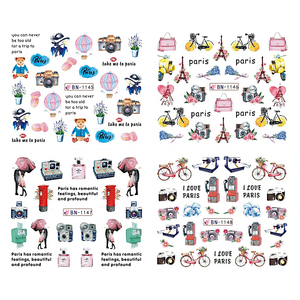 Image 3 - 12pcs Nail Art Stickers Romantic City Flowers Wraps Perfume Lovers Balloon Rose Beauty Girls Decals Nails Decor BEBN1141 1152