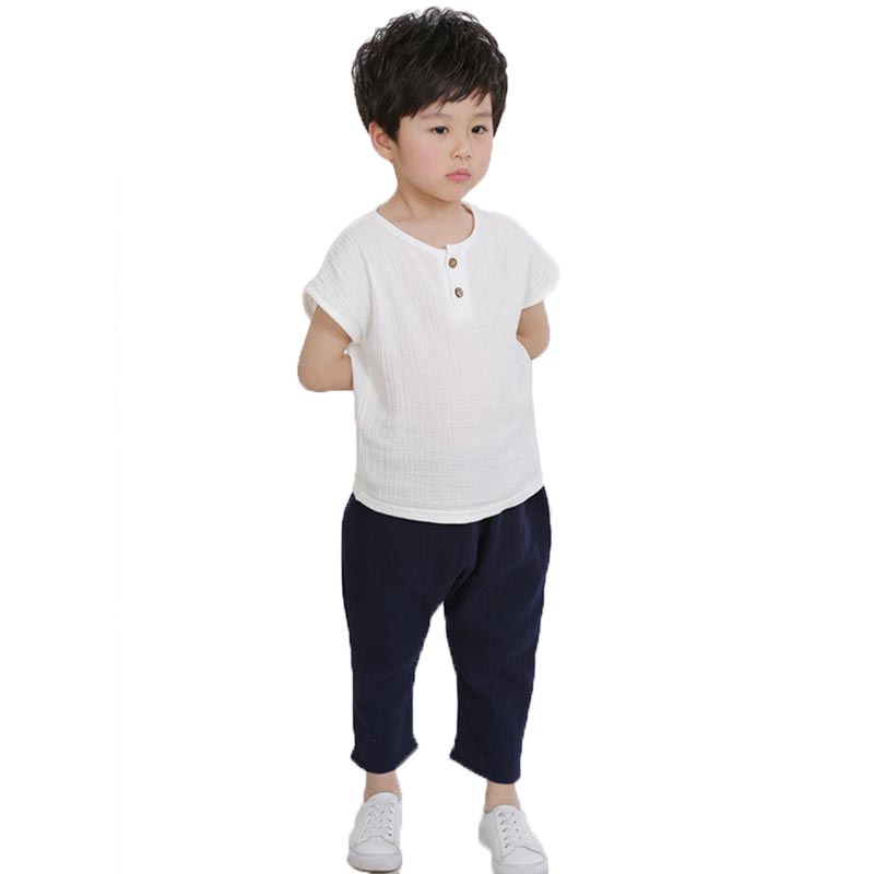 1 2 3 4 5 6 7 Year Boys Clothes 2018 New Linen Pleated Casual Kids Outfits Shirts Stripe Pants 2pcs Baby Children Clothing Set