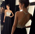 Custom Made Black 2017 Halter Cocktail Dress Beaded Slim Backless Formal Evening Gown Sexy Off Shoulder Party Pageant Dresses