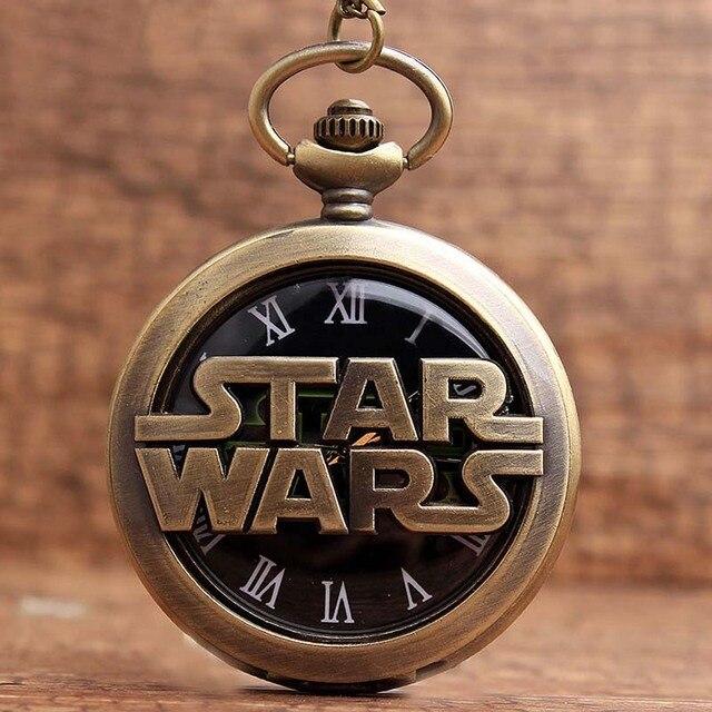 Vintage Bronze Star Wars Quartz Pocket Watches Neckalce Hollow Metal Fob Chain C