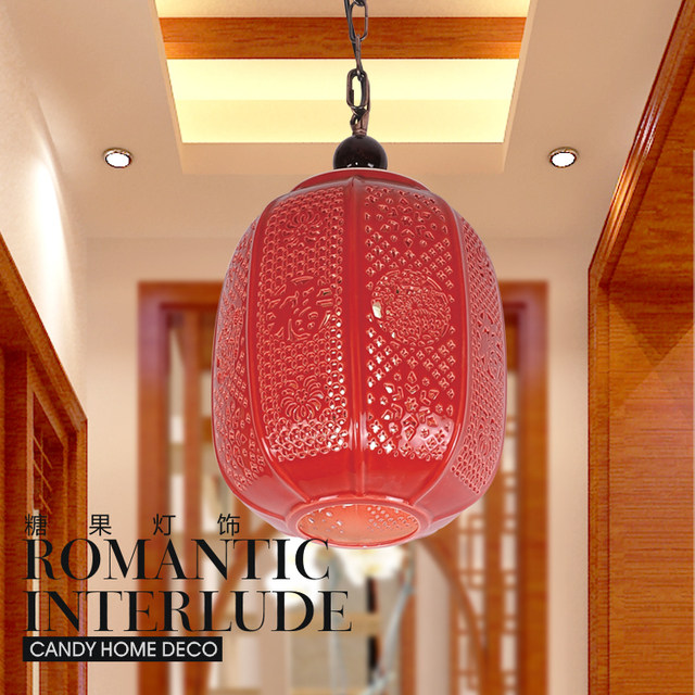 New Chinese Lanterns Hanging Candy Red Light Living Room Lamp Bedroom Ceramic Chandelier