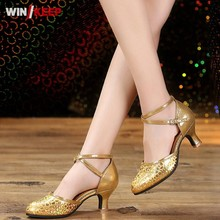 2017 New Ballroom Dance Shoes For Women Ladies Indoor Soft Sole Zapatos Genuine Leather Latin Tango Mid Heels Dancing shoes