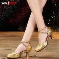 2018 Nowe Buty Tańca Towarzyskiego Dla Kobiet Ladies Kryty Miękkie Sole Zapatos Prawdziwej Skóry Mid Obcasy buty do Tańca Latin Tango