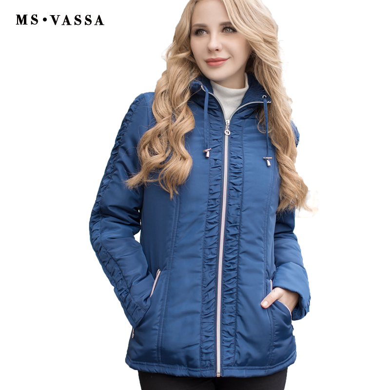 MS VASSA Women jacket Autumn Winter Parkas zipper opening turn down collar plus size Ladies outerwear