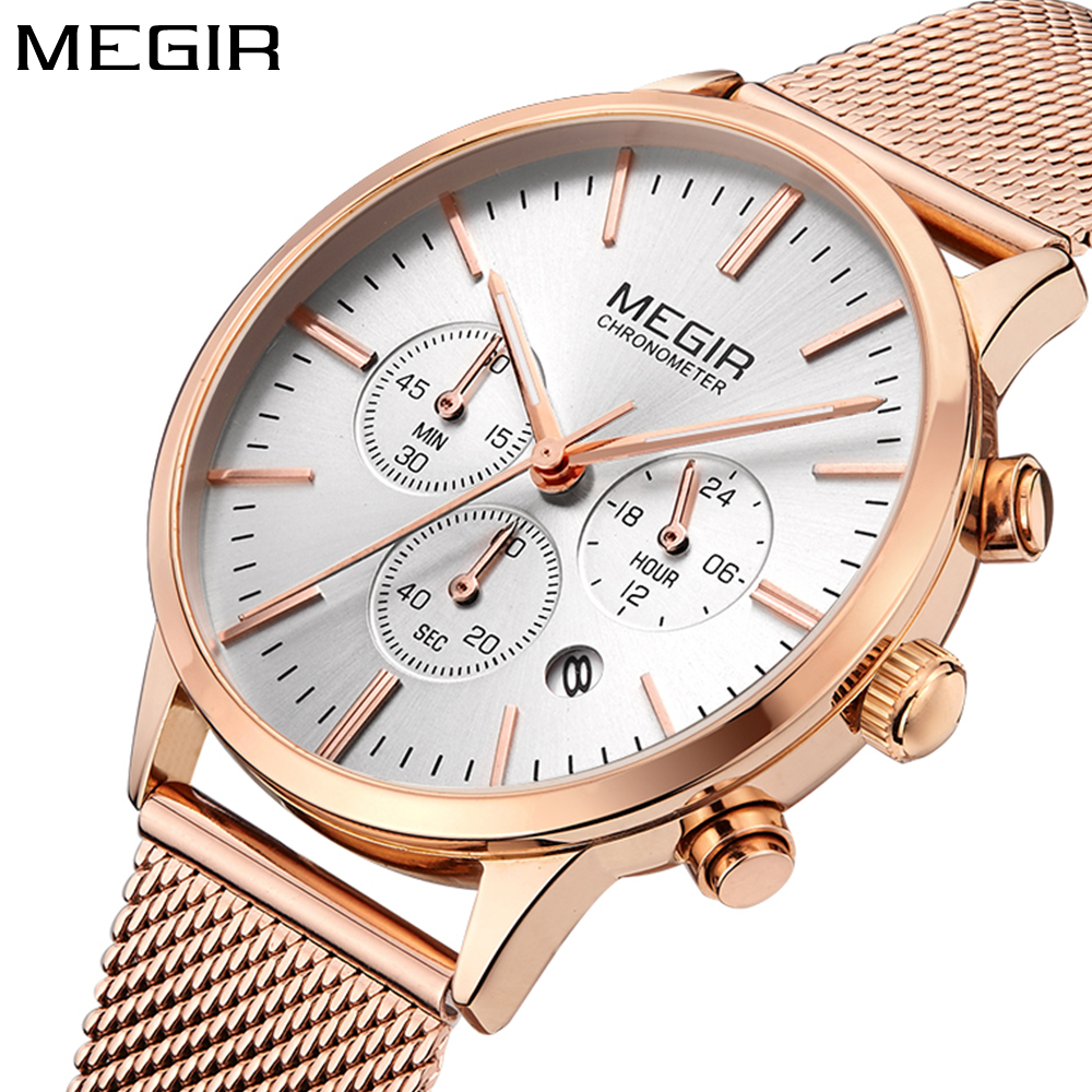 Megir Brand Fashion Gold Ladies Watches Women Clock Steel mesh Band Sport Luxury Quartz Wristwatch Women Silver Relogio Feminino