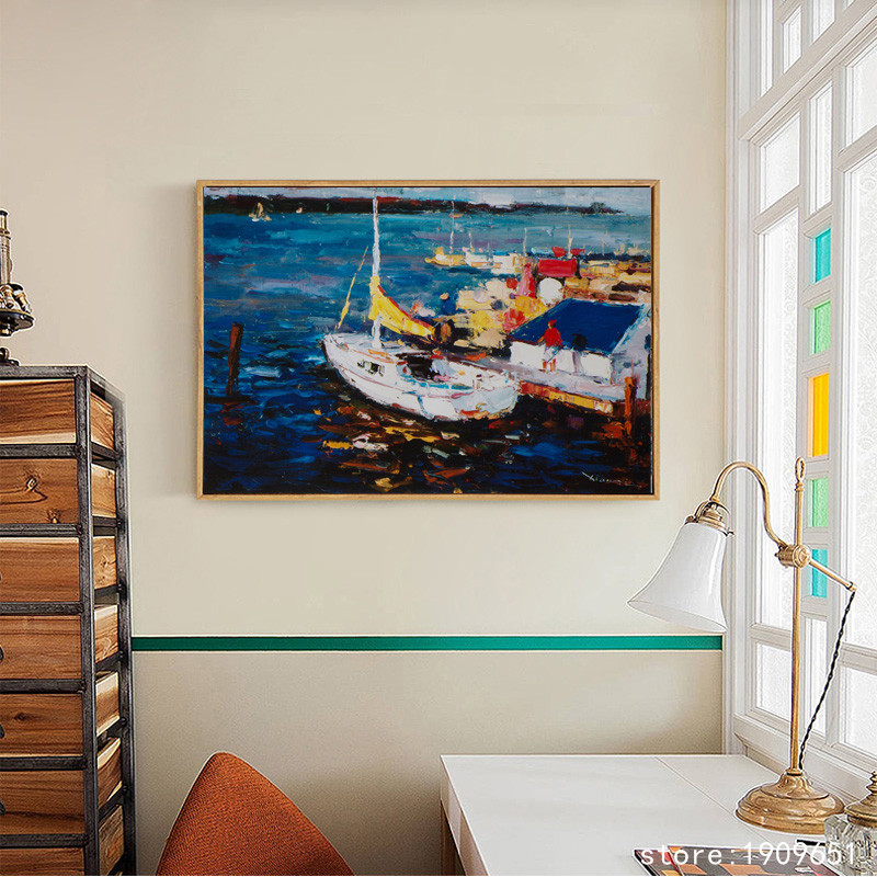 cotton no frame Mediterranean <font><b>knife</b></font> <font><b>boat</b></font> seascape canvas printings oil painting printed on cotton wall art decoration pictures image