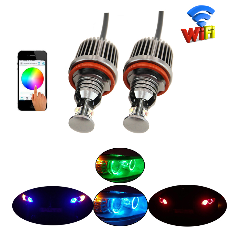 40W White Red Blue RGB color Angel Eyes LED Lights Ring Marker wifi for E87 E82 E90 E91 E92 M3 E93 E60 E61 E70 E71 E89 X5 X6 Z4 ...