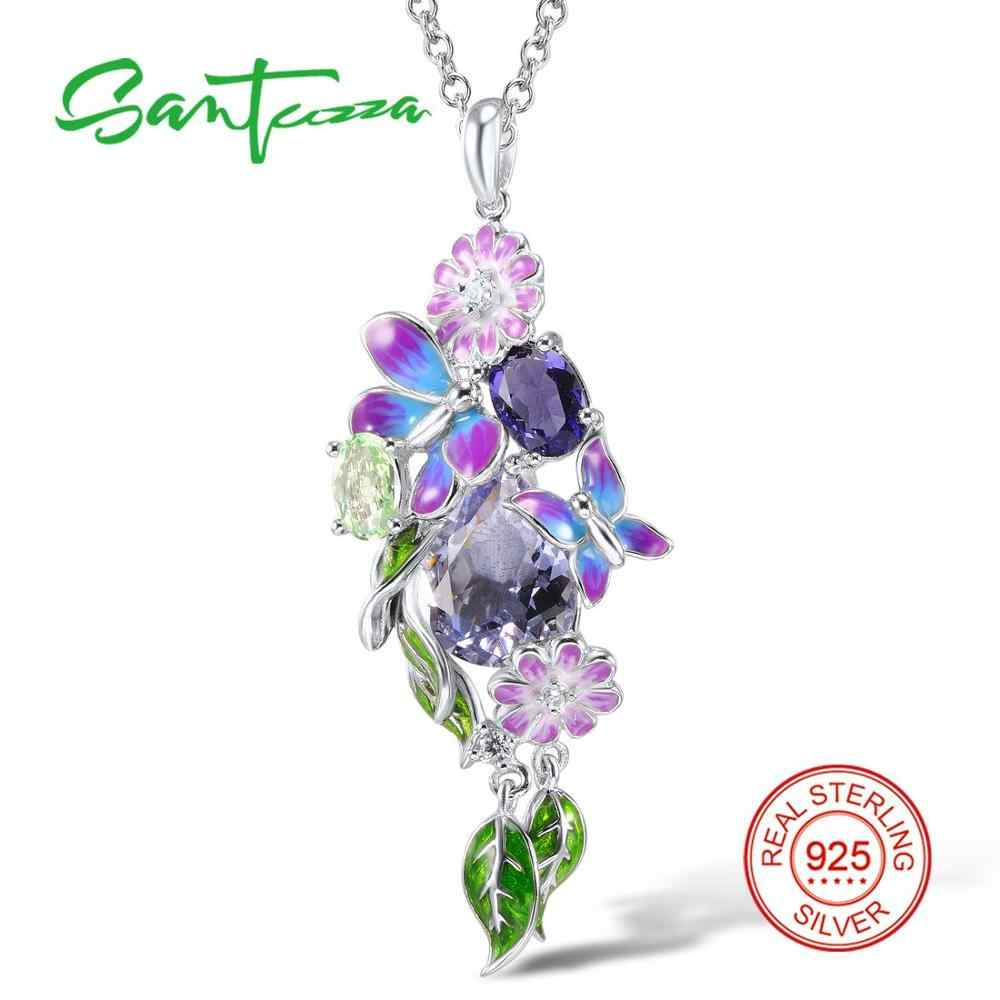 SANTUZZA Silver Pendant For Women Genuine 925 Sterling Silver Purple Butterfly Fit For Necklace Fashion Jewelry Handmade Enamel