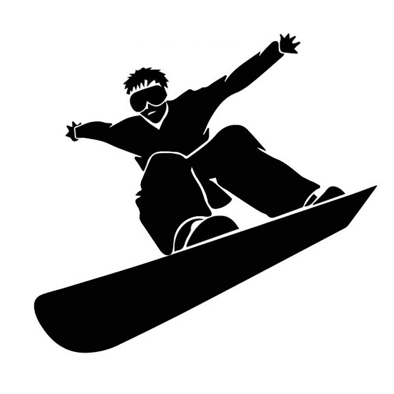 14*13CM SNOWBOARDING Snowboard Sports Car Stickers Reflective Car Stickers Decals Black Silver CT-590