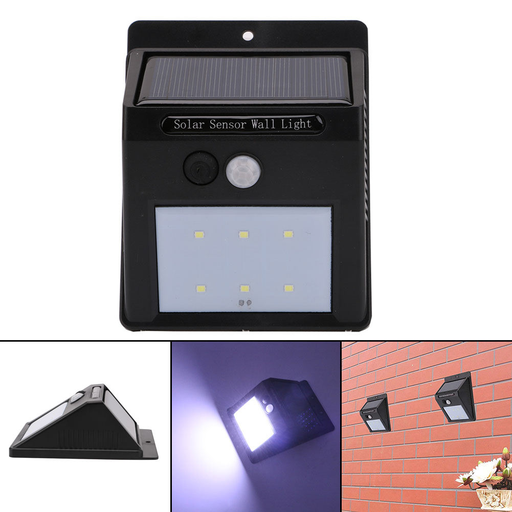 LED Solar Power PIR Motion Sensor Wall Light Outdoor Waterproof Energy Saving Street Yard Path Home Garden Security Lamp 6 LEDs