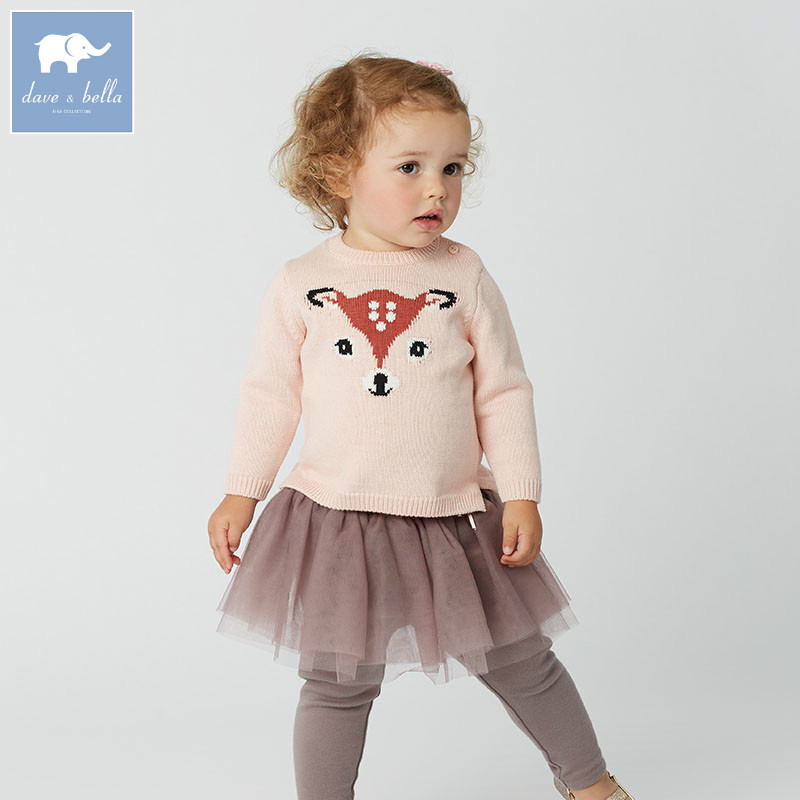 DB5903 dave bella autumn infant baby girls wool pullover tops kids clothes toddler children knitted Sweater