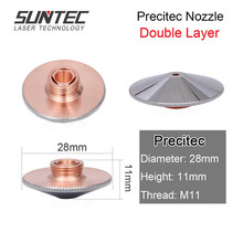 Suntec Laser Nozzles Double Layers Caliber 1.0-3.0mm For Precitec/Prima/Lead Fiber Cutting Head Machine Parts 10pcs/lot