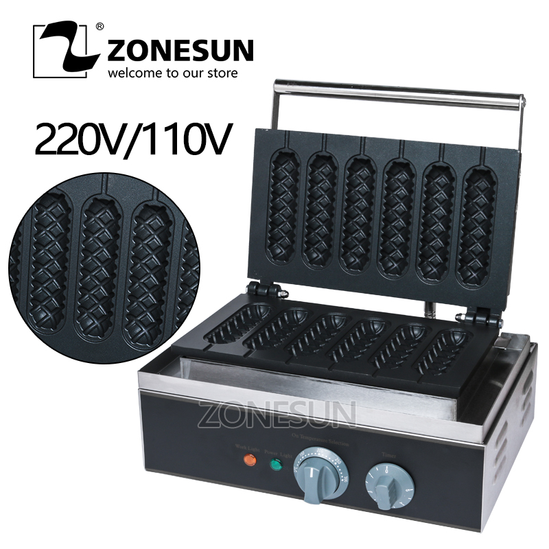 ZONESUN Free Shipping Commercial 6pcs 110v 220v Electric French Hot Dog Waffle Stick Maker Baker Machine food processor free shipping 110v 220v electric commercial 4pcs chocolate heart waffle stick maker iron machine baker