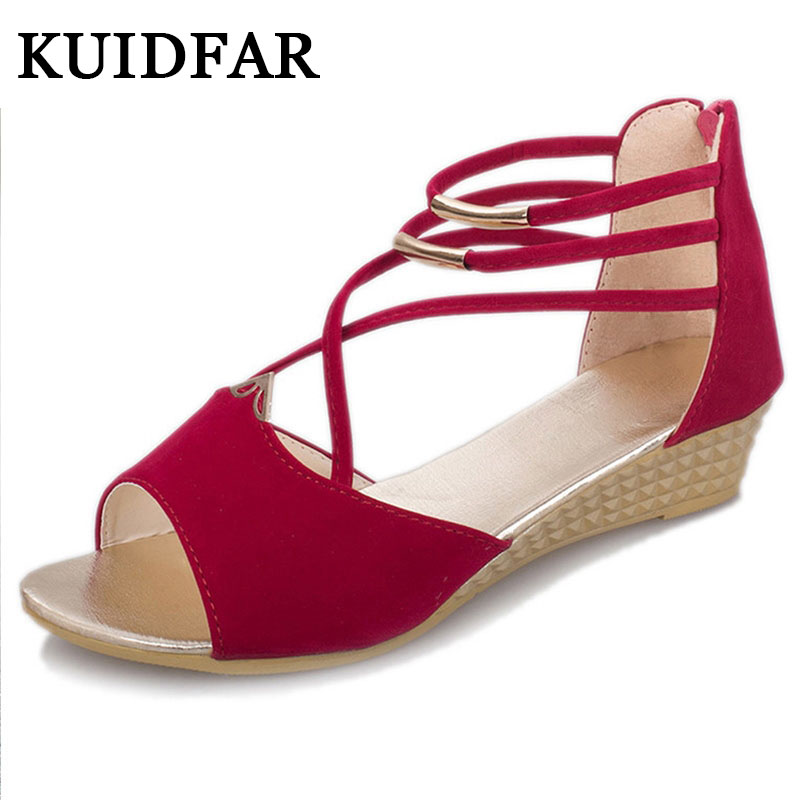 KUIDFAR Wedges Sandals Gladiator Sandals Fashion Women Summer Shoes low Heels Women Casual Sandals Ladies Shoes Women rhinestone silver women sandals low heel summer shoes casual platform shiny gladiator sandal fashion casual sapato femimino hot