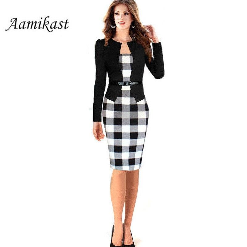 Women Office Dress Plus Size Long Kleider Elegant winter dress ...