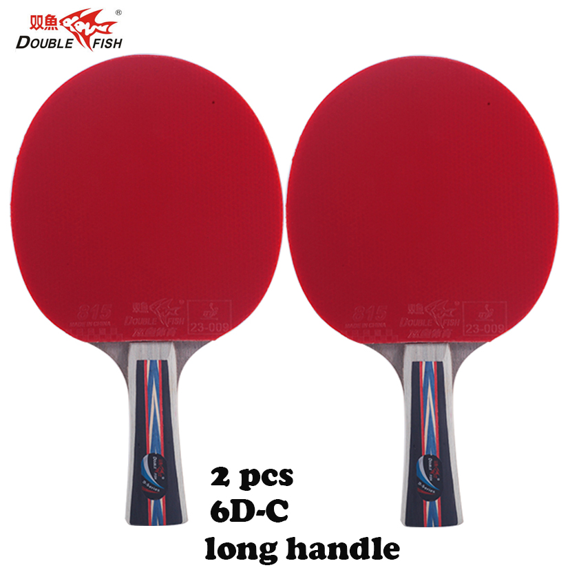 2pcs Double fish 6 Stars 5layers carbon wood table tennis rackets paddles with case bag fast attack loop for all around players
