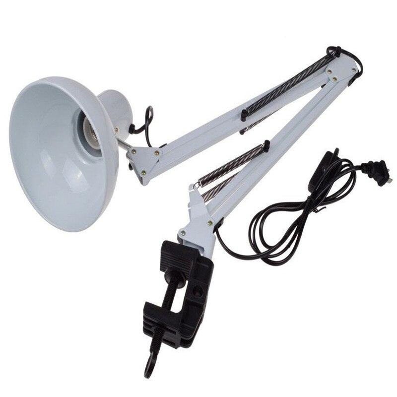 Hot Flexible Swing Adjustable Swing Arm Desk Lamp Clamp On Study Artist Drafting Design Office Studio Clamp Table Light White цена
