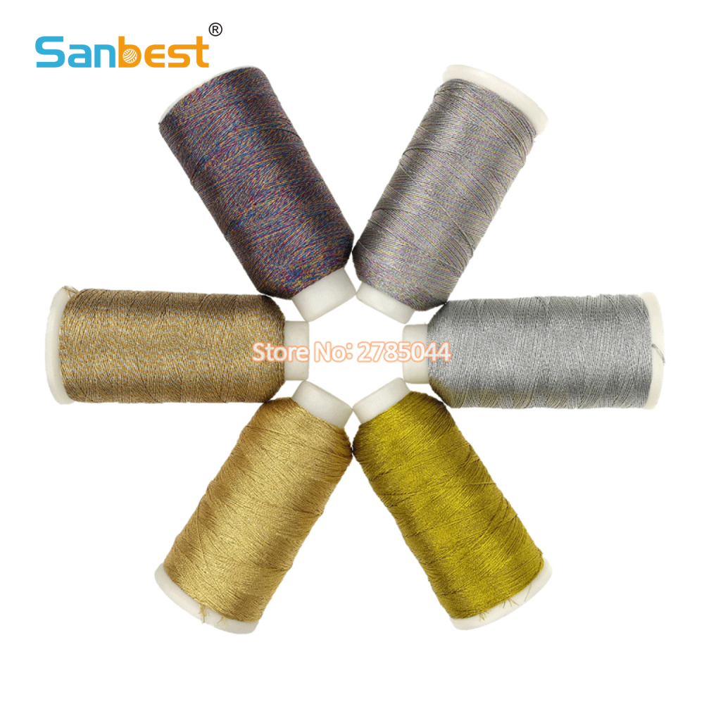 Sanbest 6 Strands Metallic threads Gold Bright Shiny Effect Jewellery Weaving Thread DIY Crafts String Cross Stitch TH00036