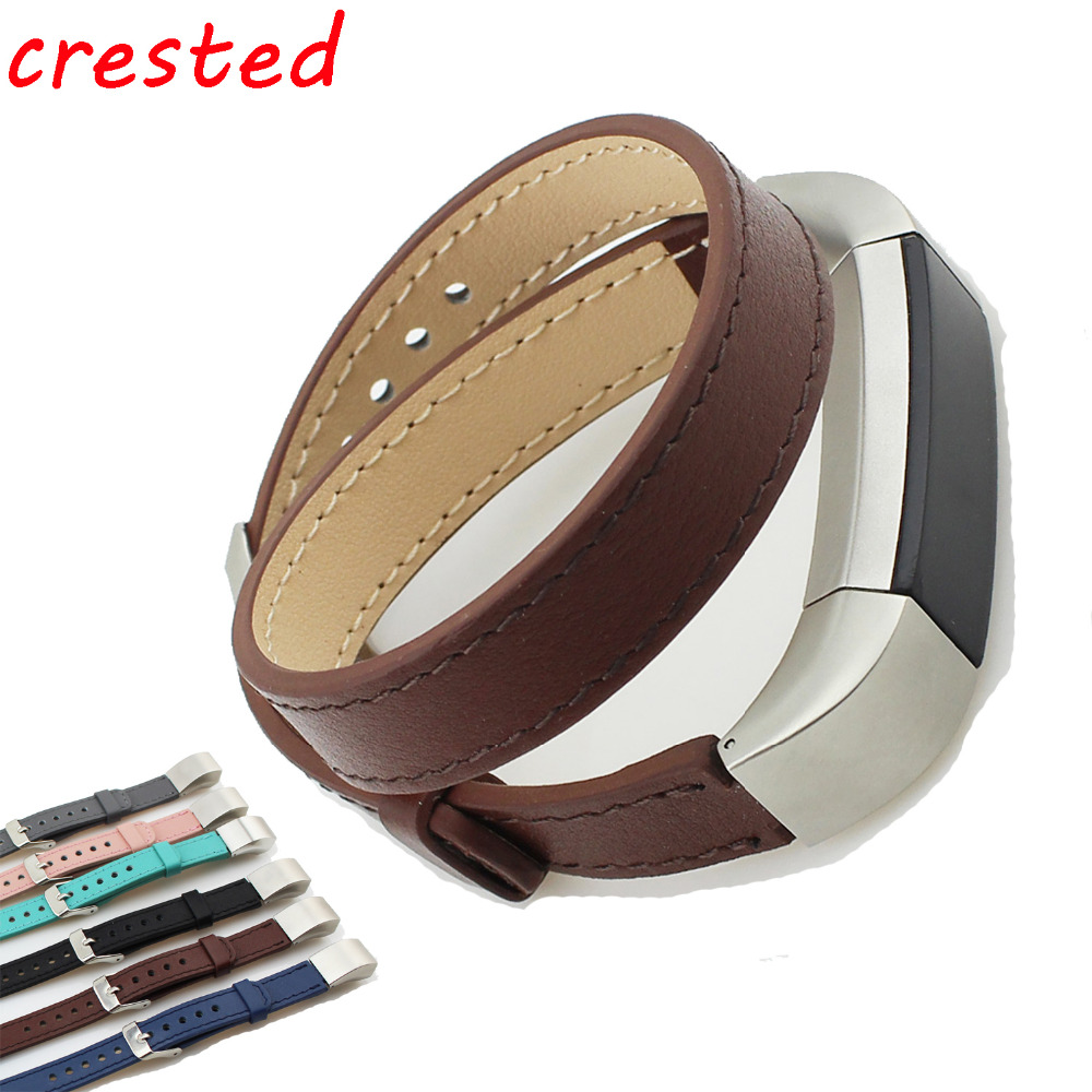 CRESTED Double Tour Genuine Leather strap for fitbit alta/alta hr Bracelet belt watch band replacement Wrist Band Strap