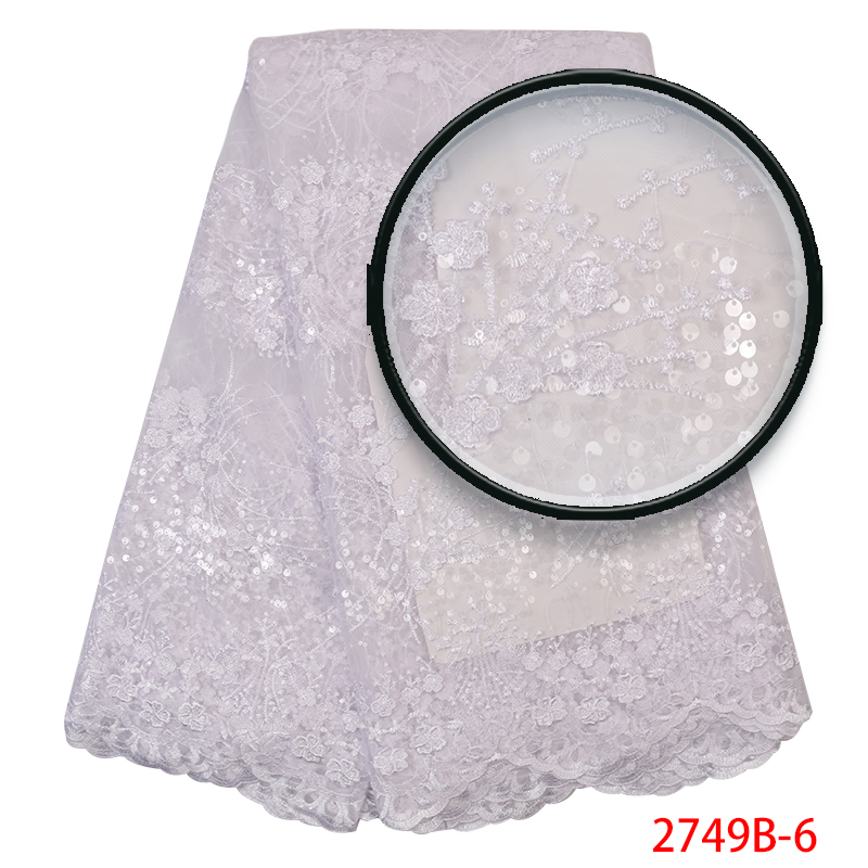 African Lace Fabric 2019 High Quality Lace French Net Tulle Lace Fabrics Nigerian Sequins Laces For Women Dress KS2749B-6