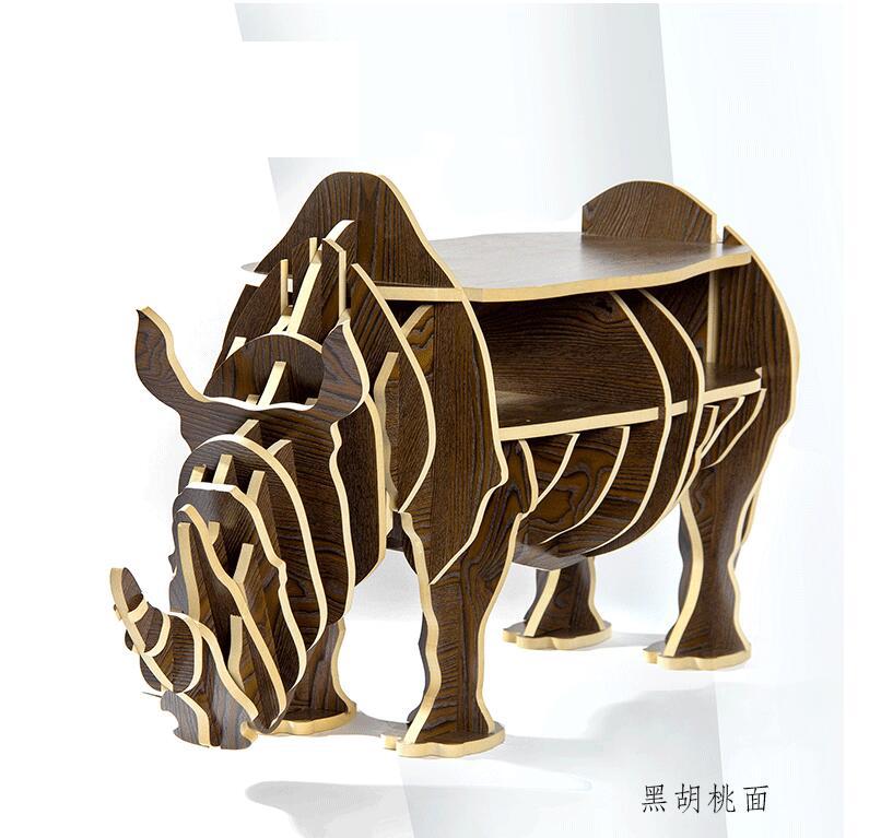 340 22 14 De Reduction Assembler En Bois Rhinoceros Table Etagere Armoire Maison Meubles Table Basse Table Basse Muebles Rhinoceros Statue