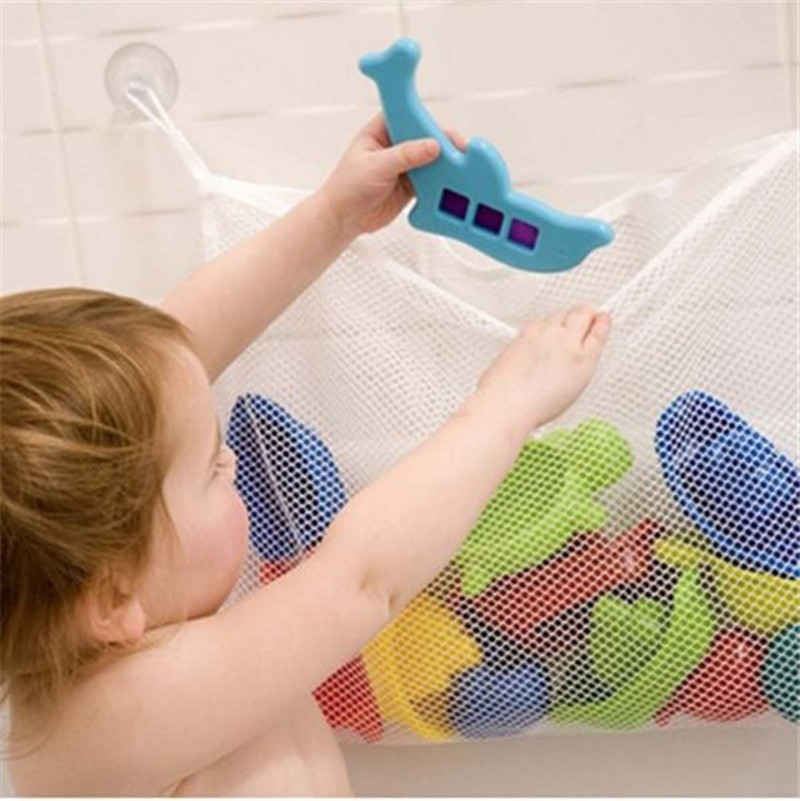 ✓Kids Baby Bath Time Toys Storage Suction Bag Folding Hanging Mesh ...