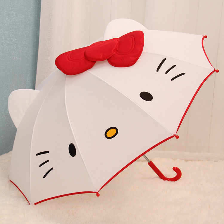 Long Handle Creative Lovely Cartoon Hello Kitty Children Anime Umbrella Kids Girl Cute Umbrella Baby Student White Umbrella Z518