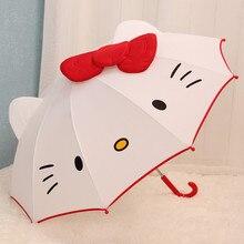 Long Handle Creative Lovely Cartoon Hello Kitty Children Anime Umbrella Kids Girl Cute Baby Student White Z518