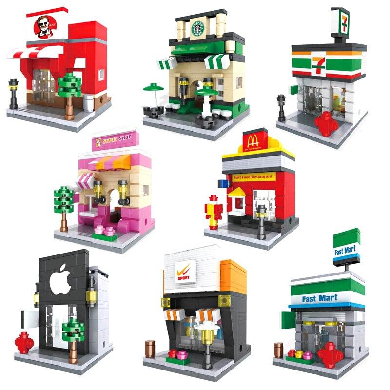 Mini Street Model Store Shop Legoe City Apple Store McDonald`s Building Block Toys Compatible with Lego Hsanhe