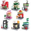 Mini modelo de rua loja legoe cidade apple loja mcdonald's hsanhe building block brinquedos compatíveis com lego