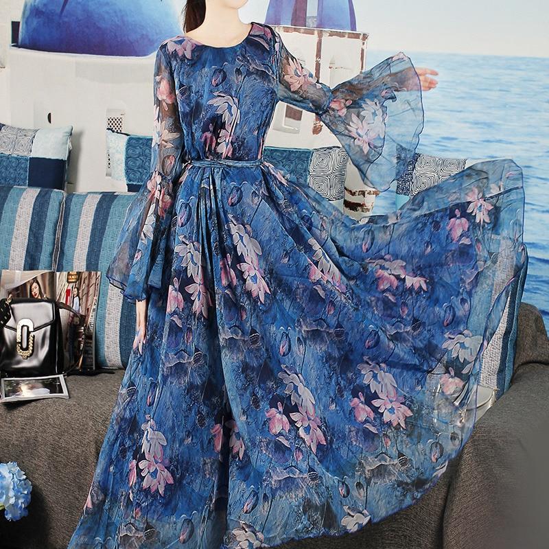 Detail Feedback Questions about 2018 New arrival Long Summer Beach Dress  Women V Neck Floral Chiffon Maxi Dress Bohemian Dresses robe on  Aliexpress.com ... f818d8d2c447