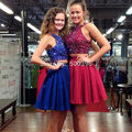 Royal Blue 2 Pieces Homecoming Dresses 2017 Short Party Gowns with Sparking Beading A line Formal Dress for Girls vestidos