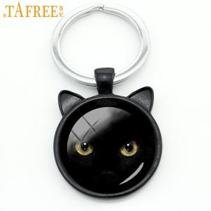 TAFREE Classic vintage Black Cat keychain men women Halloween gifts purse bag pendant key chain ring love cat jewelry CN316(China)