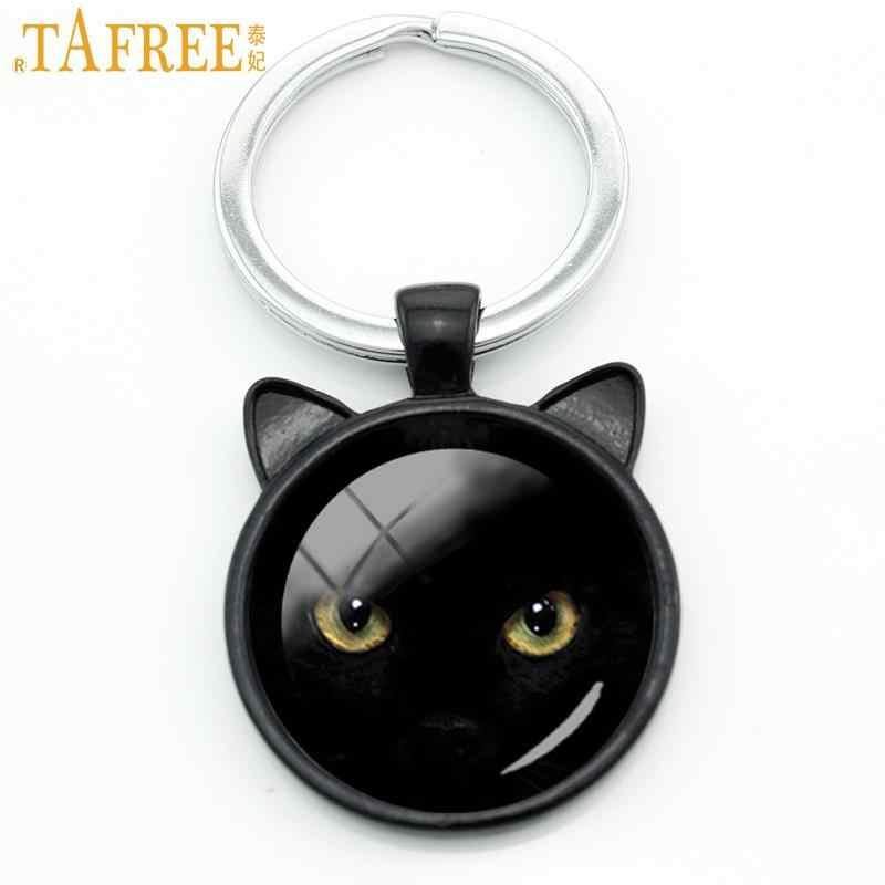 TAFREE llavero de gato negro clásico vintage hombres mujeres Halloween regalos colgante de bolsa o monedero llavero con anilla amor gato joyería CN316