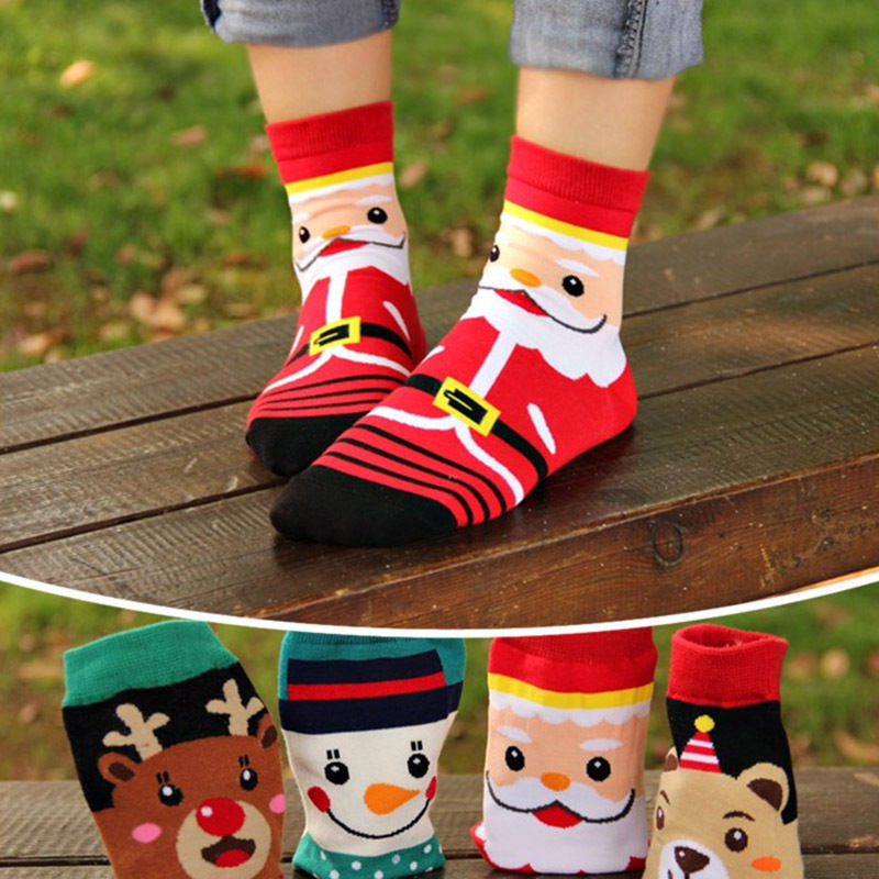 Men's Women's  Santa Claus Cotton Socks Christmas Style Short Socks Design Dress Socks HE