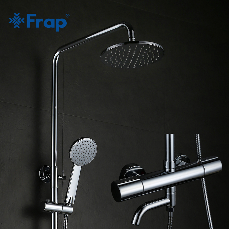Frap Bathroom Thermostatic Shower Faucet Set Bath Bathtub Faucets Cold and Hot Water Mixer Tap with Nose Double Handle GLD1193-F frap double handle bathroom mixer 30cm
