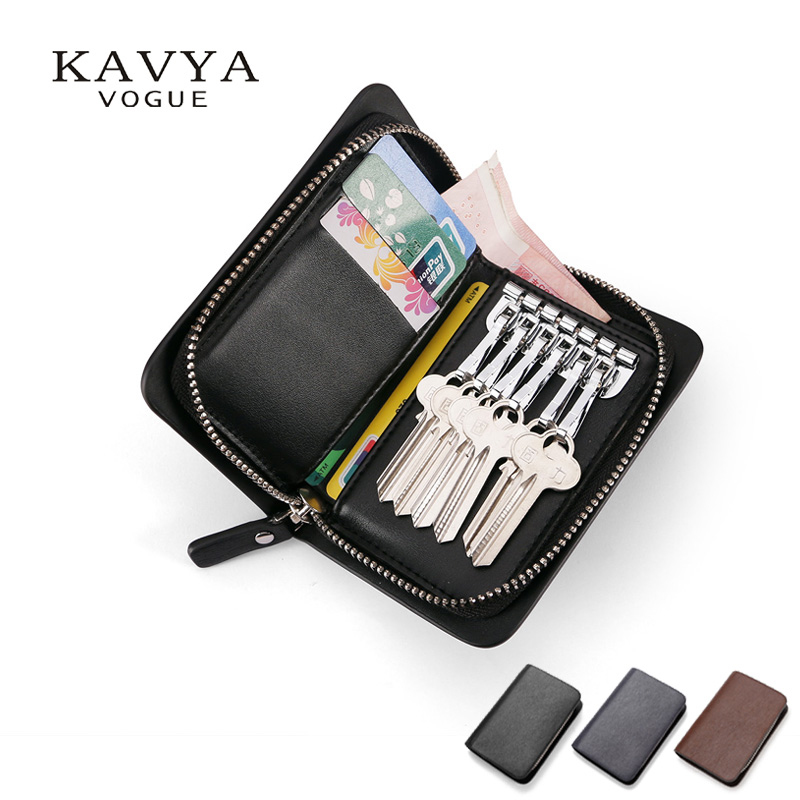 KAVYA 2017 NEW Hot Sale Zipper key case Leather Cowhide Men Bag Purse Casual Key Wallet Housekeeper holders wholesale Price