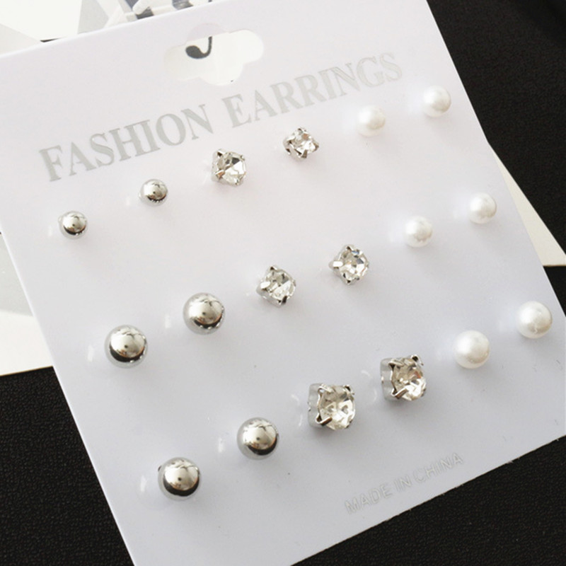 Fashion 9 Pcs/Set Round Square Crystal Gold Color Stud Earrings Simulated Pearl Ball Silver Color Earring Set For Women Jewelry 2