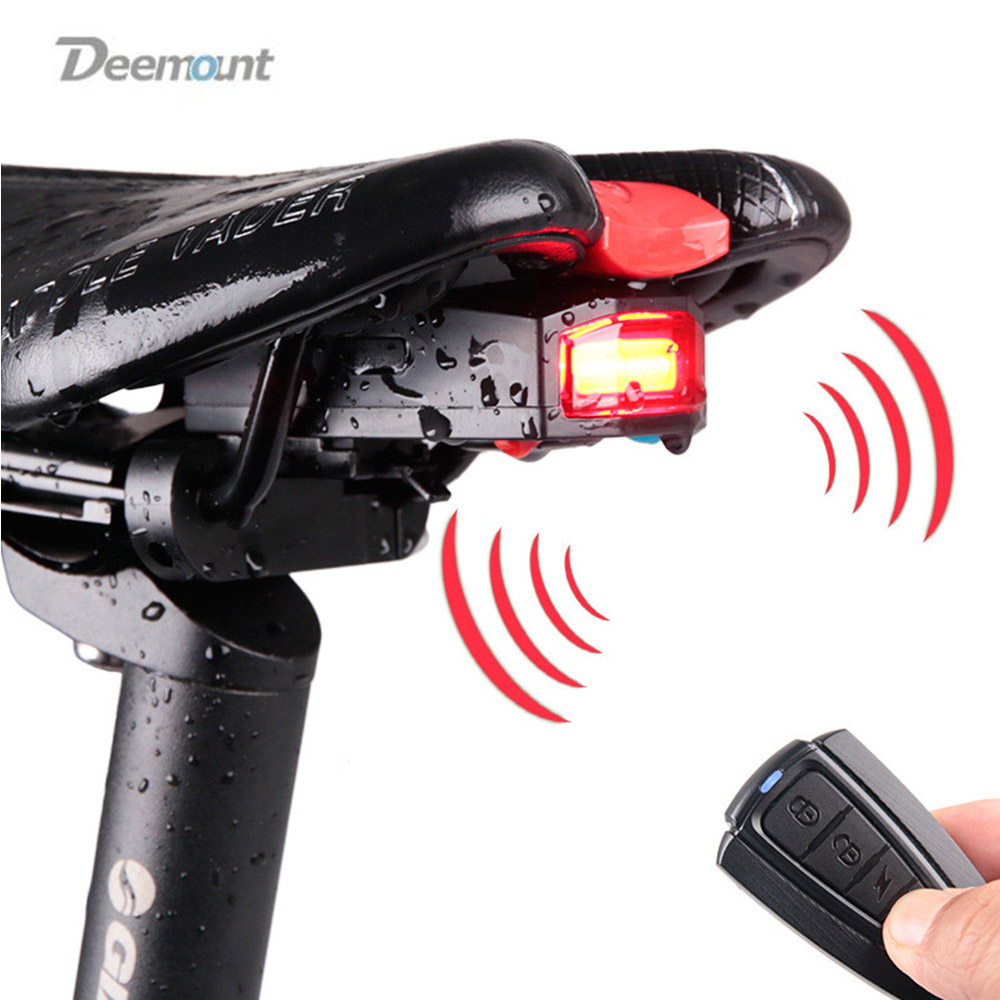 Deemount Bicycle Rear Light Anti Theft Alarm LED Tail Lamp Bike Finder Lantern Siren Warning USB