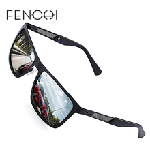 FENCHI Polarized Sunglasses Men Brand Designer New Square Metal Frame Glasses Fashion Driving UV400 Goggles 4 Colors