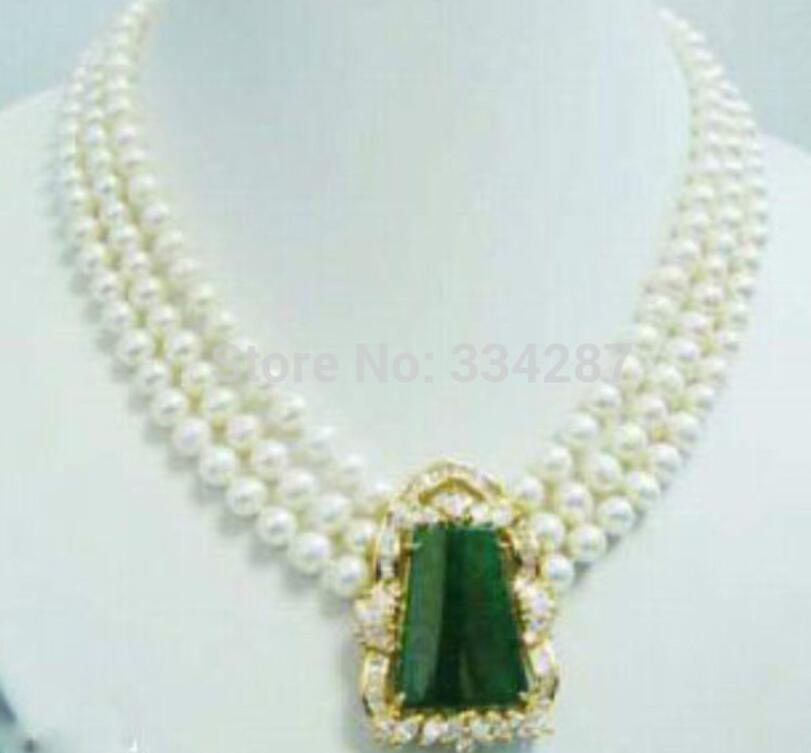 Noble 3 row white Freshwate pearl Green Quartzite stone White gold GP pendant Bridal wedding Jewelry necklace
