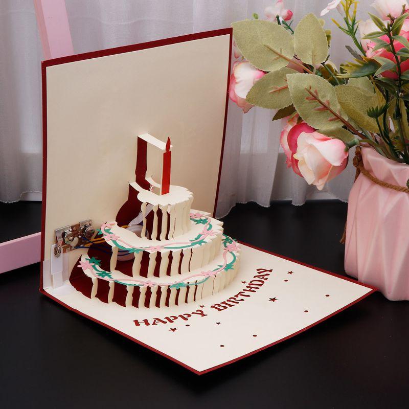 Awe Inspiring 3D Pop Up Greeting Card Happy Birthday Cake Music Led Postcard Birthday Cards Printable Benkemecafe Filternl