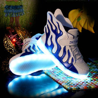2016 New Fashion Kids Sneakers LED Luminous USB Rechargeable Boys Casual Shoes Size 25 37 Girls